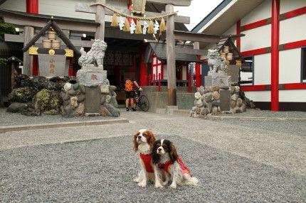 小御嶽神社の鳥居の前でハイ、ポーズ!!