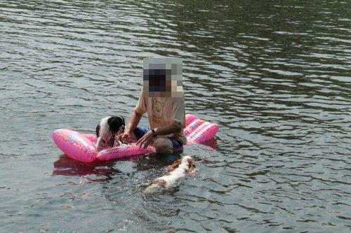 ボートの所まで泳ぐチャコ