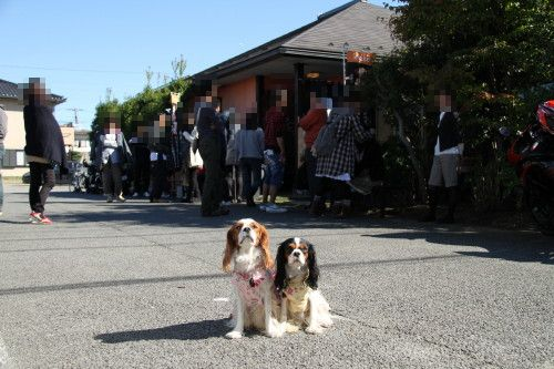 チャコ&エリーは入れないのでお店の前でハイ、ポーズ!!
