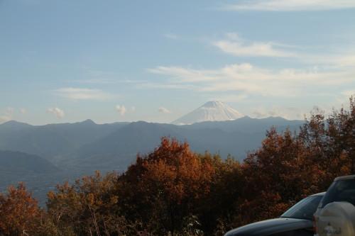 わんこの露天風呂から富士山が見えました