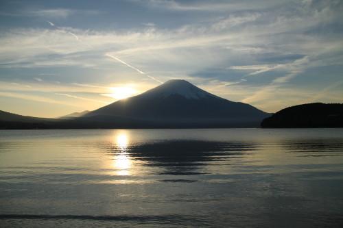 山中湖から見える富士山夕日