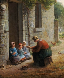 feeding her birds millet