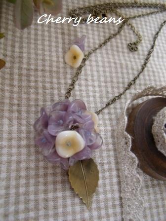 紫陽花のネックレス(紫)