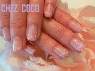 マーブルフレンチホワイト+ピンク+シルバー+スワロ