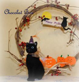 ハロウィン黒猫とリース