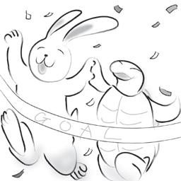 ウサギとカメ 同着
