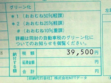 22年自動車税納税通知書