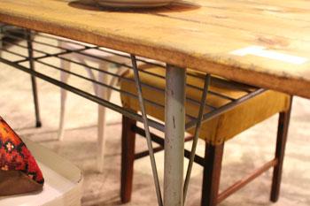 リデザイン家具 リメイク家具 スチール脚のダイニングテーブル 作業台