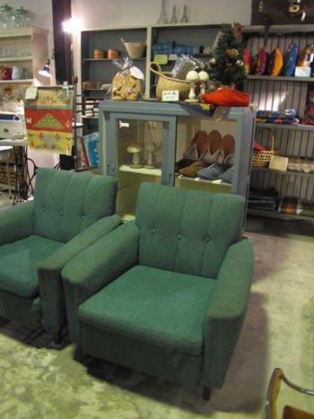 グリーンのヴィンテージソファ 1人掛けソファ レトロ 家具
