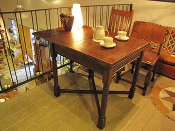 英国アンティーク 木味 ドローリーフテーブル