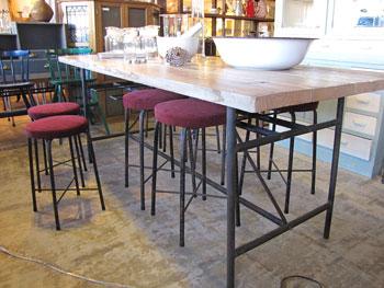 【Re-design】 スツール8コ付 古木天板×アイアン脚テーブル