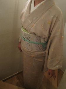 花更紗の小紋と絞りの帯