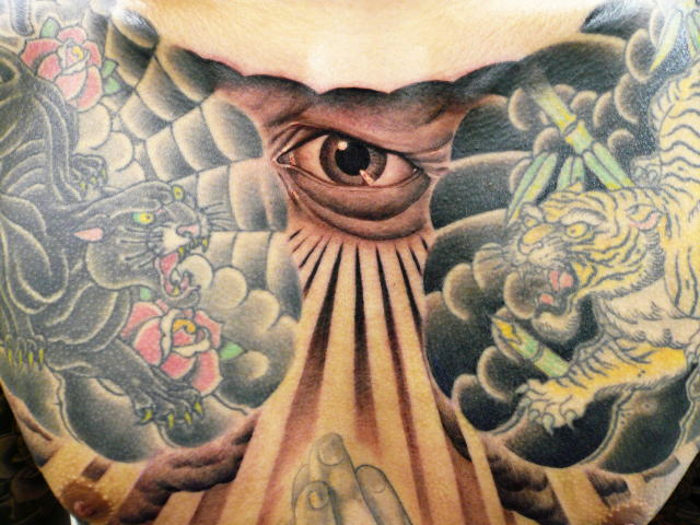 TATTOO KOBAYASHI BLACK&GRAY EYE JESUS MARIA PRAYHAND DAYOFTHEDEAD