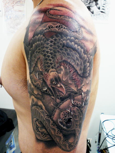 TATTOO KOBAYASHI BLACK&GRAY EAGLE SNAKE DAYOFTHEDEAD