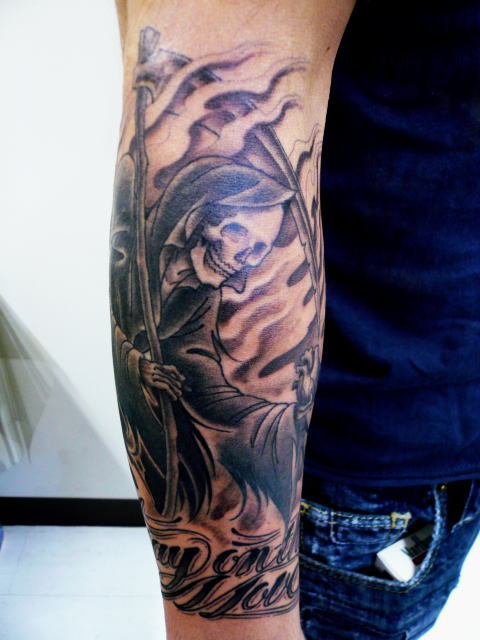 TATTOO KOBAYASHI BLACK&GRAY REAPER DAYOFTHEDEAD