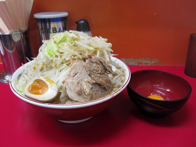ラーメン大 麺増し500g 麺カタメ なま玉子 ¥800 + ¥50