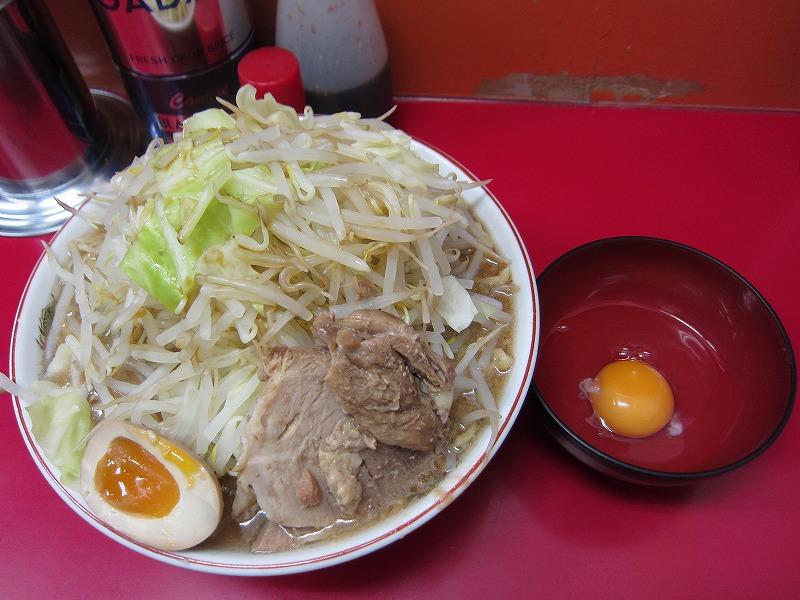 ラーメン大 麺カタメ 麺増し500g 生たまご ヤサイちょい増し