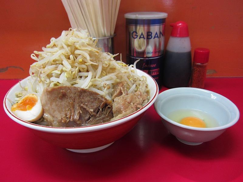 ラーメン大 麺増し500g 麺カタメ なま玉子 ¥800+¥50