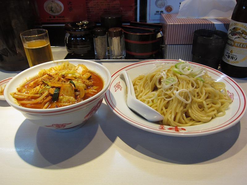 冷やし味噌やさい 麺大盛り 瓶ビール ¥950+¥60+¥500