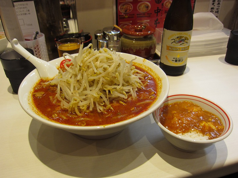 北極ジャンボ 麺カタメ 辛さ2倍 野菜大盛 プチ麻婆丼 ¥950+¥60+¥0(チラシクーポン使用)