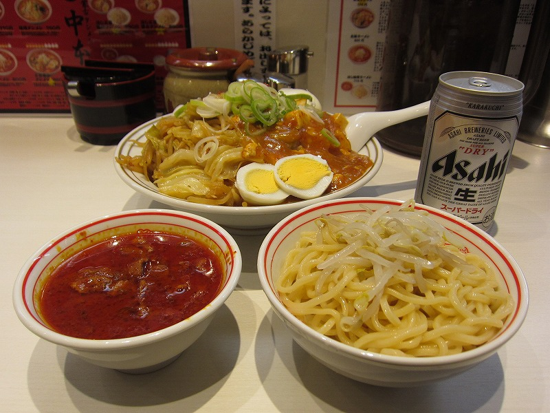 蒙古丼大盛り 半冷やし味噌ラーメン 缶ビール ¥800+¥60+¥380+¥350