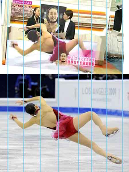 2008年3月フィギュア世界女王となった浅田真央へのインタビューの際、フジTVは浅田真央の転倒シーンの特大等身大パネルを足を短く加工して作成して目の前に設置!