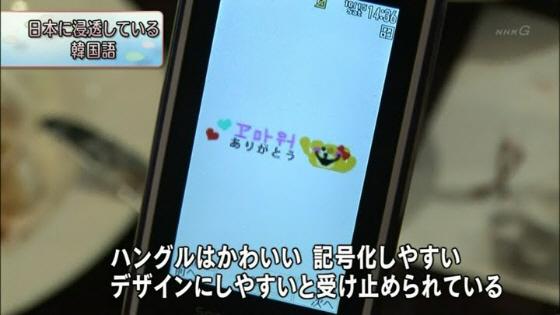 11月24日放送NHK「お元気ですか日本列島」の「日本に浸透している韓国語」ハングルはかわいい 記号化しやすい デザインにしやすいと受け止められている