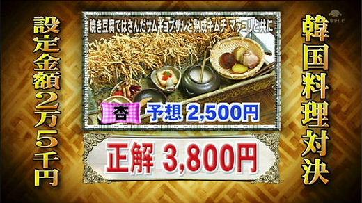 ぐるナイ韓国ゴチ!弾丸SP! なんかもう絶望的にセンスが無い。この料理の値段は3800円!(杏の予想は2500円)