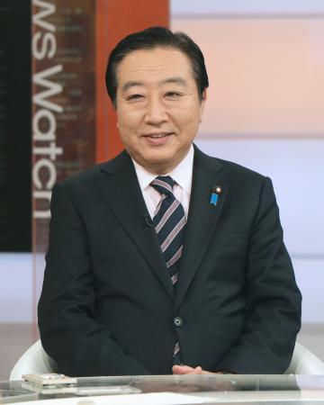 NHK番組に出演した野田首相=2月17日夜、東京都渋谷区(代表撮影)