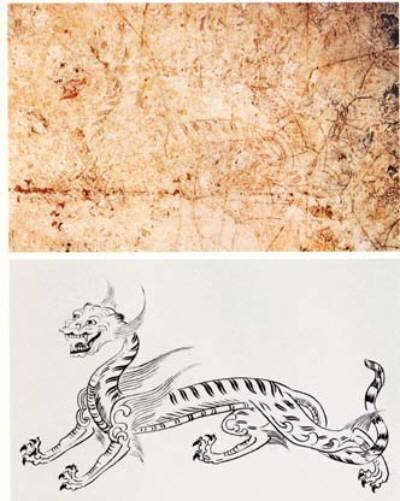 高松塚古墳壁画の白虎とその復元図.