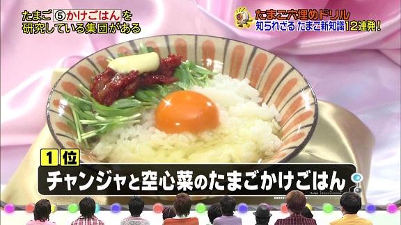 フジテレビが4月14日に放送した情報バラエティー番組「~あらゆる世界を見学せよ~潜入!リアルスコープ」で「卵かけごはんに乗せる具材ランキング」が発表されたが、その1位が何と韓国の「チャンジャ」だった!