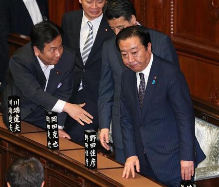 税制抜本改革消費税法案が衆院で可決。予想を超える数の造反議員に厳しい表情の野田佳彦首相=26日午後、東京・国会