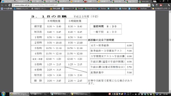 中学校の登校時間は、年間通して5時間授業と6時間授業どちらも朝8時30分。