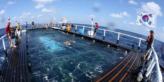 移動式プール(生け簀)で休み休み泳ぐ