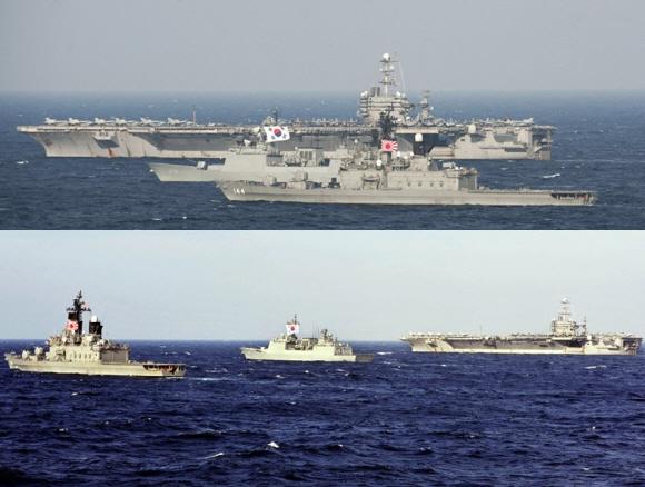 日本海上自衛隊&米海軍&韓国海軍の艦艇による国際合同演習 ←旭日旗