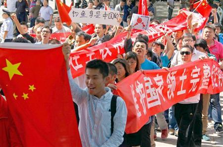 北京で12日に行われた反日デモ。9・18に向けて日本人を狙った暴動が過激化する恐れもある(ロイター)