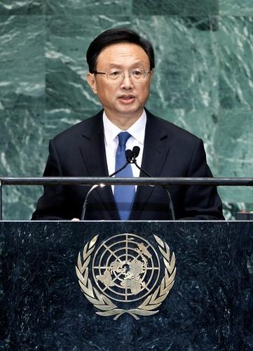 国連総会で、演説する中国の楊潔 外相2012年9月27日、