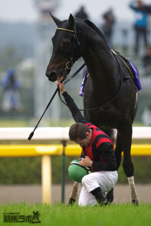 天皇賞でデムーロ騎手が天皇皇后両陛下の前で下馬し跪いて最敬礼