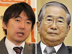 日本維新の会の橋下徹代表(写真左)と太陽の党の石原慎太郎共同代表