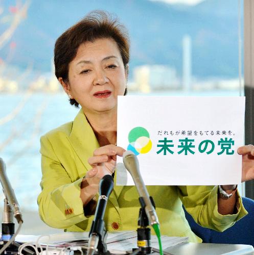 琵琶湖を望む会見場で、党名を発表する嘉田由紀子代表=27日午後、大津市