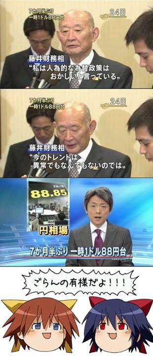 藤井財務大臣の円高容認の無責任発言で円高が急加速
