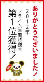 2012年のプライムタイム年間平均視聴率(関東地区)、テレビ朝日が開局以来初の1位獲得が確定