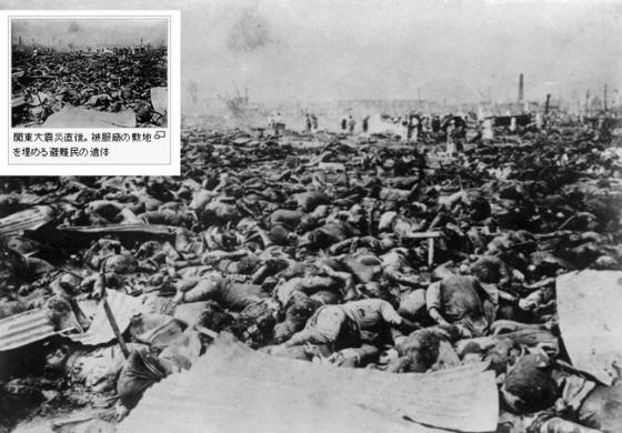 横網町公園(よこあみちょうこうえん)関東大震災直後。被服廠の敷地を埋める避難民の遺体