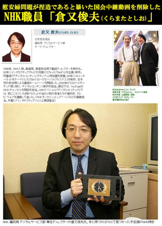 慰安婦問題が捏造であると暴いた国会中継動画を削除したNHK職員「倉又俊夫(くらまたとしお)」