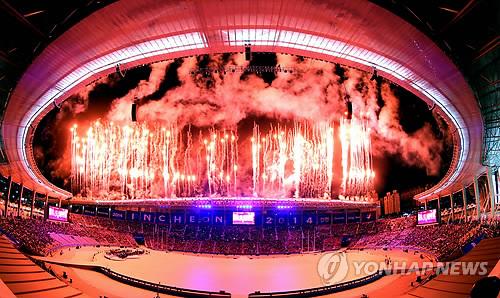 仁川アジア大会開会式で、花火文字でWELCOMEと打ち上げようとするも見事失敗で完全に地獄絵図にw