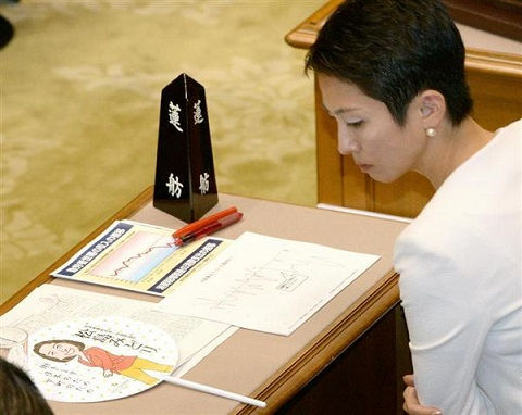 参院予算委員会で、松島みどり法相が選挙区で配布した自身のイラストが入ったうちわを配布したことを問題として取り上げた民主党の蓮舫氏=7日午前、国会・参院第1委員会室(酒巻俊介撮影)