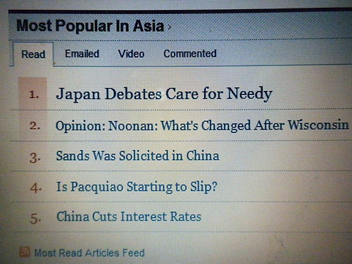 "Most Popular In Asia""(アジアで最も人気のある記事)"