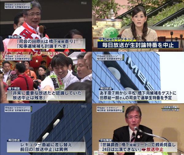 平松が討論番組ドタキャン!毎日放送がテレビで24日夜予定の大阪市長選特番を急きょ中止・22日のラジオ討論で橋下が「生活保護の不正受給、今の大阪市はゆるすぎる」と批判・平松が24日のテレビ討論番組キャンセル