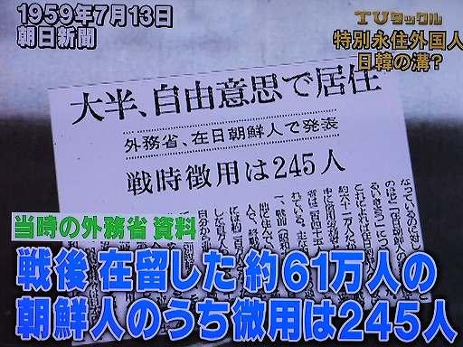 外務省資料「戦後在留した約61万人の朝鮮人のうち徴用は245人」(朝日新聞1959年7月13日付)