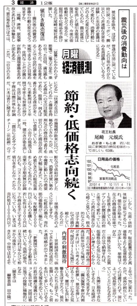 2011年10月10日 日経朝刊 社長尾崎元規「花王の今年度の売上高は前年比で3%でとどまればいいと考えるが、現状は4~5%減だ」